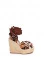 Sandales à talon compensé espadrilles en cuir camel et pony léopard Px boutique 795€ Taille 37