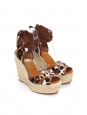 Sandales à talon compensé espadrilles en jute et tissu imprimé léopard Px boutique 795€ Taille 37,5