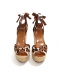 Floral printed and braided jute wedge sandals Retail price €795 Size 36.5