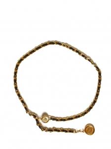 Ceinture chaîne en laiton doré tressé de cuir noir et médaillons Taille 94 A