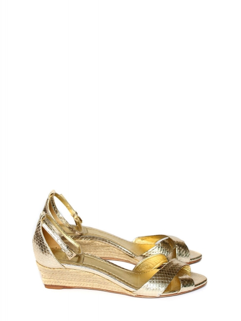 Ankle strap gold python leather and jute wedge ankle strap sandals Retail price €750 Size 37