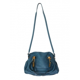 Dark peacock blue grained leather Paraty Small leather cross body bag Retail price 1150€