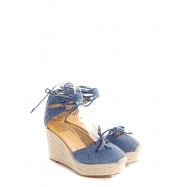 Blue suede leather espadrille wedge pumps Retail price €750 Size 36