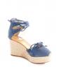 Sandales espadrilles compensées à lacets chevilles en suede bleu et paille beige Prix boutique 750€ Taille 36