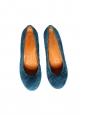 Escarpins bouts ronds en suede bleu canard Prix boutique 120€ Taille 37