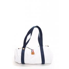 Sac polochon de voyage ou week-end en toile blanche anses bleu marine Prix boutique 60€