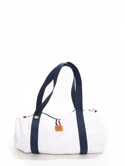 White canvas with dark blue straps duffle travel bag Retail price €60