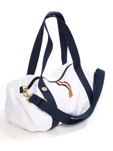 FAGUO White canvas with dark blue straps duffle travel bag Retail price €60