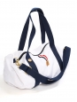 FAGUO White canvas with dark blue straps duffle travel bag Retail price €60