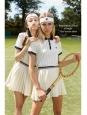 Mini jupe de tennis plissée blanche et bleu marine Taille 36