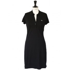 Robe polo en coton mini piqué de coton noir stretch NEUVE Px boutique 145€ Taille 36