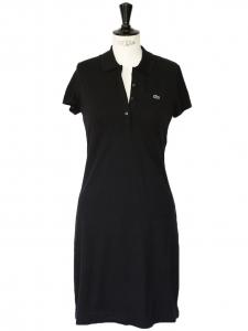 Black piqué stretch cotton short sleeves dress Retail price €145 Size 38