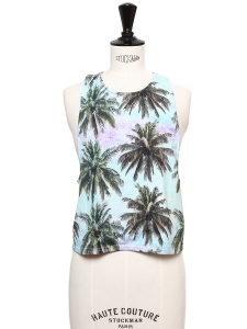 Blue and green palm tree print cropped top Size S