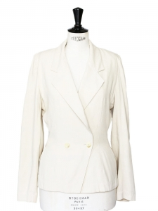 Ivory cream cinched blazer jacket Retail price €1500 Size 36