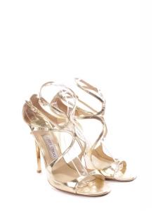 Lance gold metallic leather heel sandals Retail price €650 Size 41