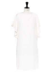 Robe manches courtes scalloped en crêpe de soie blanc ivoire Prix bouteille 1100€ Taille 34/36
