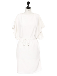 Ivory white crepe short sleeved scalloped dress NEW Retail price €1100 Size 34/36