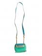 CLARE Blue green and beige textured leather mini bag with gold chain strap Retail price €1000