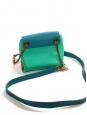 Sac CLARE mini en cuir bleu, vert et beige chaîne bandoulière dorée Prix boutique 1000€