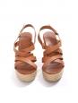 Sandales compensées en corde et lanières cuir marron NEUVES Px boutique 175€ Taille 38
