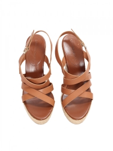 Brown multi straps leather espadrille wedge sandals NEW Retail price €175 Size 38