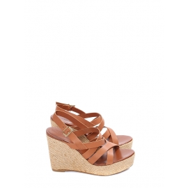 Brown multi straps leather espadrille wedge sandals NEW Retail price €175 Size 36,5-37