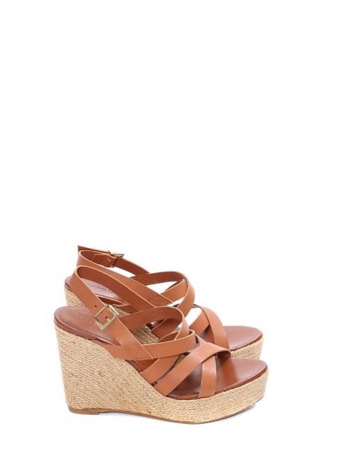 Sandales compensées en corde et lanières cuir marron NEUVES Prix boutique 175€ Taille 36,5/37
