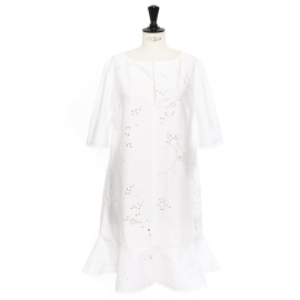 Short sleeves eyelet floral lace cotton dress with ruffle Retail price €580 Size 40