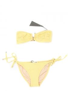 Maillot de bain deux pièces PUERTO VIEJO et FORMENTERA gaufré jaune NEUF Px boutique 215€ Taille 36