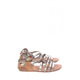 Silver and nutmeg brown leather flat gladiator sandals Retail price €550 Size 41