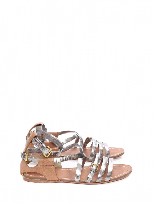 58f2491ad5bf Silver and nutmeg brown leather flat gladiator sandals Retail price €550  Size 41