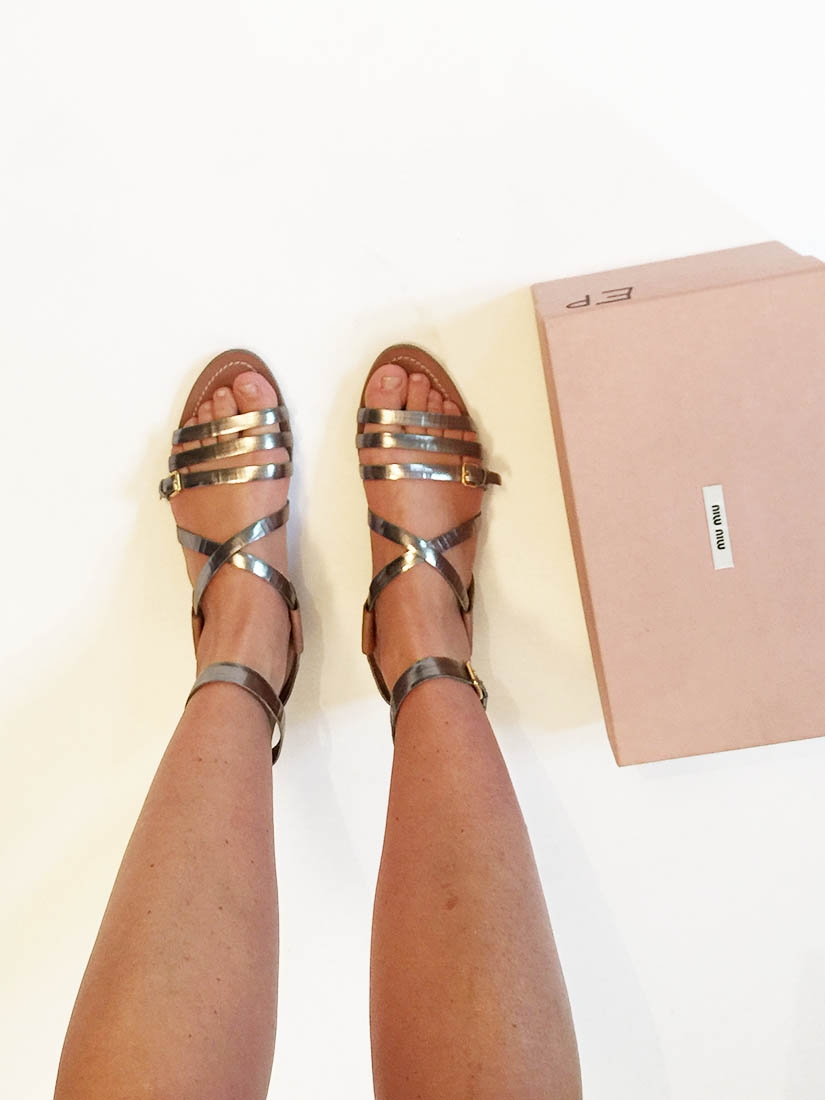 57e445bed54c ... Silver and nutmeg brown leather flat gladiator sandals Retail price €550  Size 38 ...