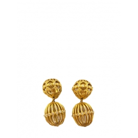Bird cage gold clip earrings with crystals