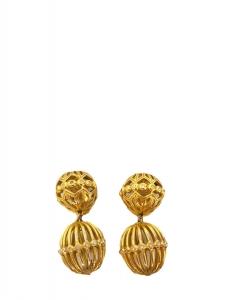 Boucles d'oreille clip sphères cages doré et crystal