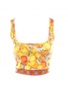 Orange and yellow fruit print jersey décolleté cropped top Retail price €650 Size 36