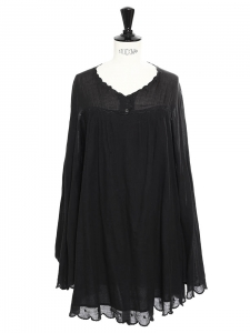 Black cotton Scalloped long sleeves dress Retail price €350 Size S/M