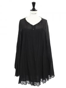 Robe courte manches longues Scallop en coton noir Px boutique 350€ Taille 36/38
