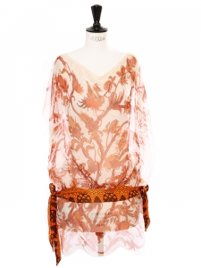 Orange and white phenix and floral print silk veil dress with satin scarf belt Retail price €1700 Size 36