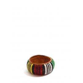 Bracelet africain en cuir marron brodé de perles rouge, vert, jaune, blanches et noir
