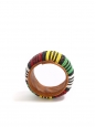 Leather African bracelet embellished with bright red, green, yellow and black beads