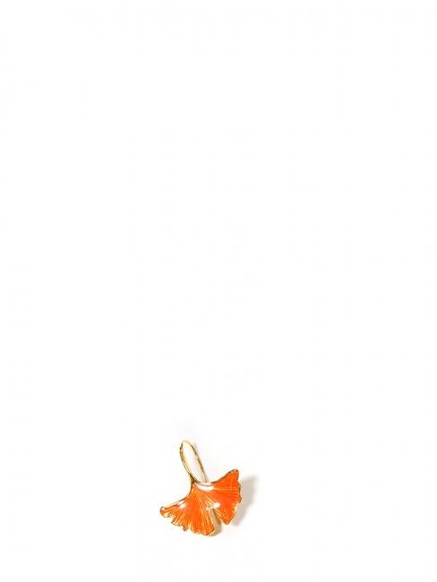 Boucle d'oreille Tangerine fleur de Ginkgo dorée et émaillée orange Prix boutique 125€