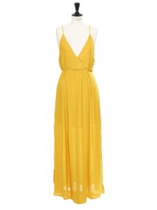 Sunny yellow long fluid open back dress with thin straps Size 36/38
