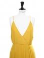 Robe fluide longue dos nu à fines bretelles jaune soleil Taille 36/38