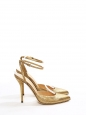 Gold python leather pointy toe pumps witt ankle strap NEW Retail price €550 Size 39