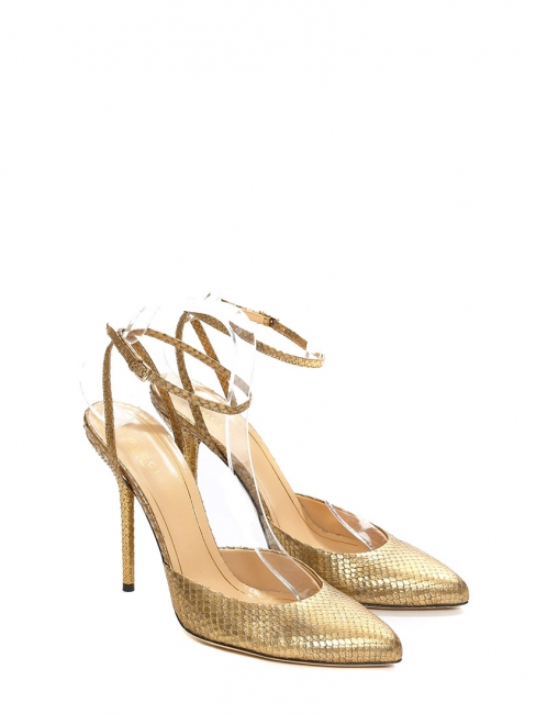 Gold python leather pointy toe pumps with ankle strap NEW Retail price €800 Size 39