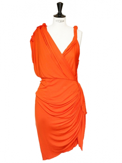Orange draped Grecian cocktail dress Retail price €2050 Size 34