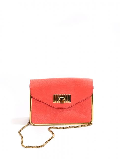 Sac SALLY en cuir grainé rouge corail NEUF Prix boutique 1320€
