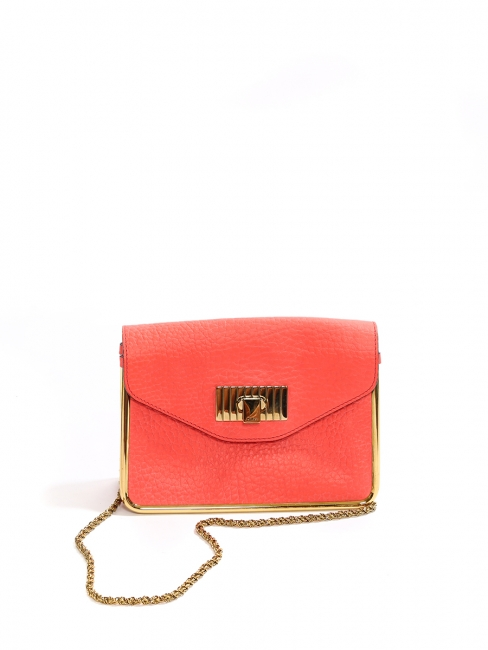SALLY coral red grained leather cross body bag NEW Retail price €1320