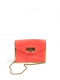 SALLY coral red grained leather cross body bag Retail price 1150€ NEW