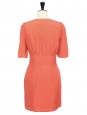 CHLOE Coral orange pink wild silk short sleeve dress Retail price €900 Size 36